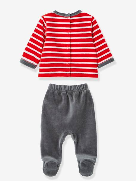 Pack of 2 Baby Two-Piece Pyjamas in Velour Fabric RED BRIGHT 2 COLOR/MULTICOL - vertbaudet enfant