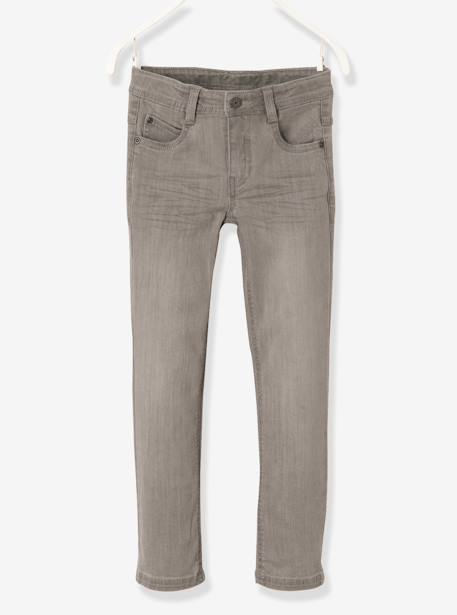 NARROW Fit- Boys' Slim Cut Jeans BLUE DARK SOLID+BLUE DARK WASCHED+GREY MEDIUM WASCHED - vertbaudet enfant