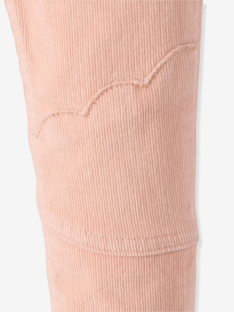 Girls' Lined Velvet Slim Trousers PINK LIGHT SOLID - vertbaudet enfant