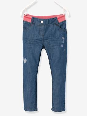 Vertbaudet - Trousers girls boys and babys-Girls' Denim Boyfriend-Fit Trousers
