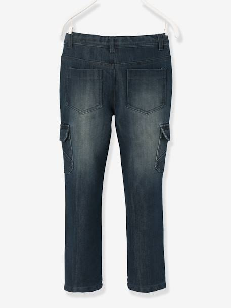 Boys' Indestructible Straight Cut Denim Trousers BLACK MEDIUM WASCHED+BLUE DARK WASCHED - vertbaudet enfant