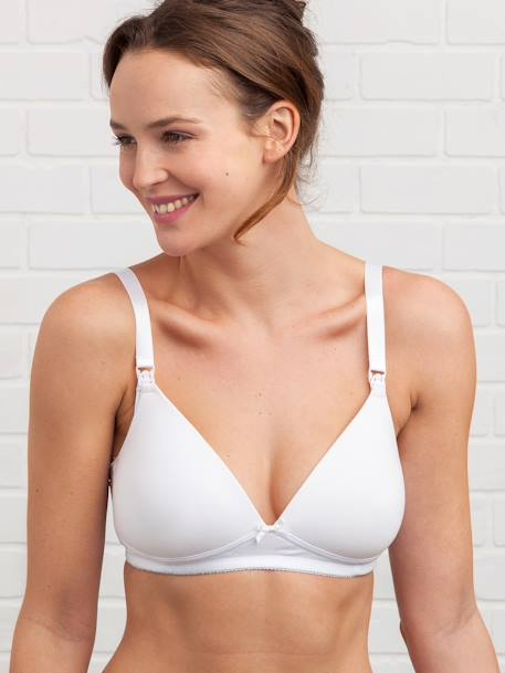 Padded Nursing Bra in Stretch Cotton Black+Light grey marl+White - vertbaudet enfant