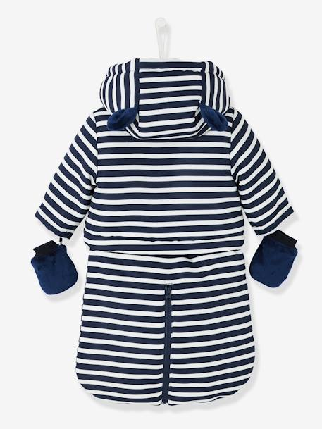 Baby Striped, Padded & Lined All-in-One BLUE DARK STRIPED - vertbaudet enfant