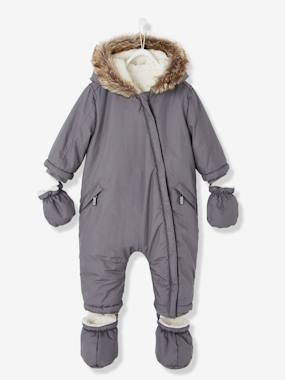 coats-Baby Padded Jumpsuit with Plush Lining