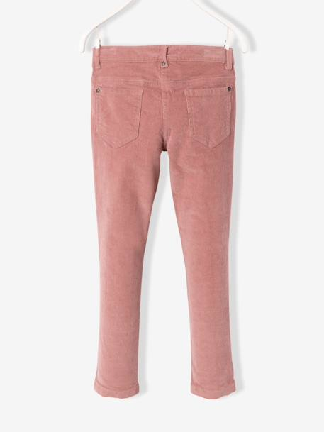 LARGE Fit - Girls' Velvet Slim Trousers BLUE DARK SOLID+GREY DARK SOLID+PINK DARK SOLID+PINK MEDIUM SOLID+RED DARK SOLID - vertbaudet enfant