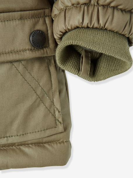 Baby Boys' Parka with Fleece Lining & Hood BLUE DARK SOLID+GREEN DARK SOLID - vertbaudet enfant