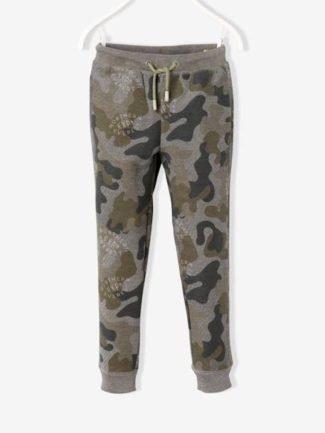 Boys' Camouflage Print Fleece Trousers GREEN DARK ALL OVER PRINTED - vertbaudet enfant