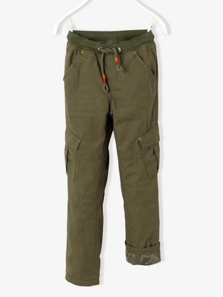 Boys' Combat-Style Trousers Lined with Jersey Knit Fabric BLUE DARK SOLID WITH DESIGN+BROWN MEDIUM SOLID WITH DESIGN+GREEN DARK SOLID WITH DESIGN - vertbaudet enfant