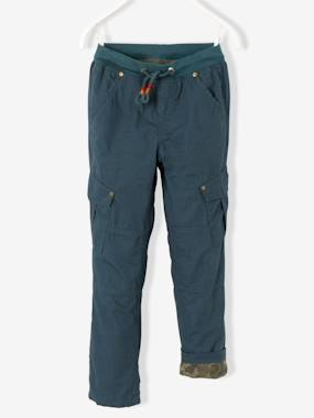 Vertbaudet Sale-Boys-Trousers-Boys' Combat-Style Trousers Lined with Jersey Knit Fabric