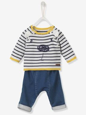 baby navy sardine-Baby Embroidered Jumper & Jeans Outfit Set