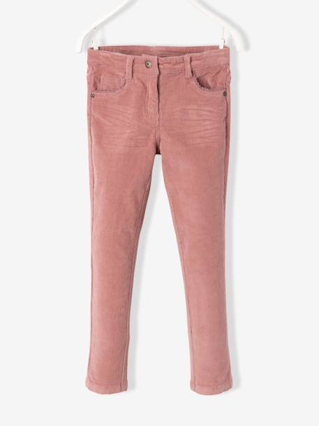 MEDIUM Fit - Girls' Velvet Slim Trousers BLUE DARK SOLID+GREY DARK SOLID+PINK DARK SOLID - vertbaudet enfant