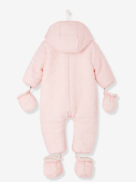 Baby Star-Padded Jumpsuit BLUE DARK SOLID+PINK LIGHT SOLID - vertbaudet enfant