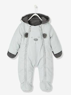 Baby-Outerwear-Snowsuits-Baby Lined & Padded All-in-One with Face Motif