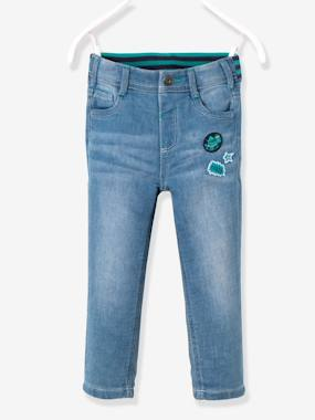 Vertbaudet - Trousers girls boys and babys-Boys-Boys' Stylish Denim-Effect Fleece Trousers