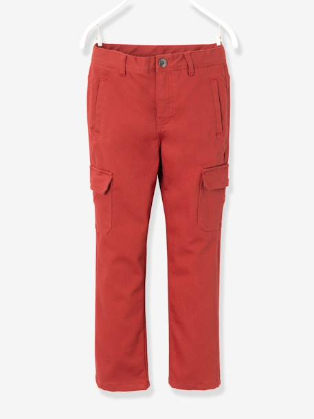 Boys' Indestructible Combat-Style Lined Trousers GREEN DARK SOLID+RED MEDIUM SOLID - vertbaudet enfant