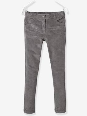 Vertbaudet - Trousers girls boys and babys-Girls-NARROW Fit - Girls' Velvet Slim Trousers
