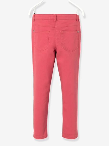 Girls' Indestructible Twill Slim Trousers BLACK DARK SOLID+GREEN DARK SOLID+PINK DARK SOLID - vertbaudet enfant