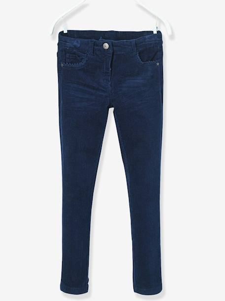 NARROW Fit - Girls' Velvet Slim Trousers BLUE DARK SOLID+GREY DARK SOLID+PINK DARK SOLID+RED DARK SOLID - vertbaudet enfant