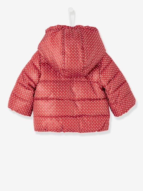 Baby Girls' Padded Jacket with Hood GREY DARK ALL OVER PRINTED+RED DARK ALL OVER PRINTED - vertbaudet enfant