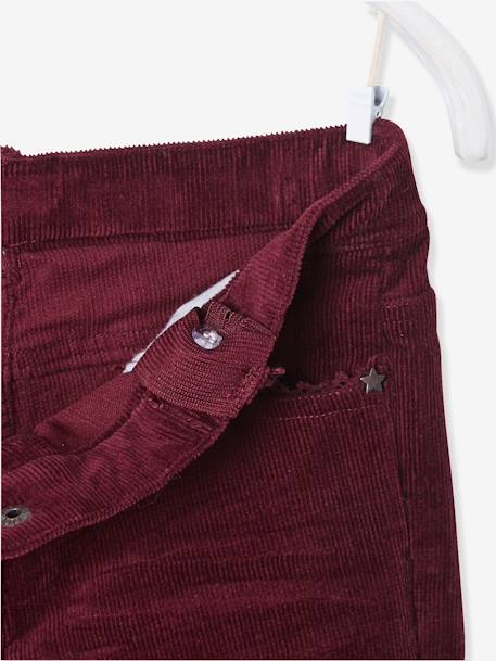 LARGE Fit - Girls' Velvet Slim Trousers BLUE DARK SOLID+GREY DARK SOLID+PINK MEDIUM SOLID+RED DARK SOLID - vertbaudet enfant
