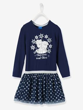 Schoolwear-Frozen® Dress with Iridescent Polka-Dotted Overskirt