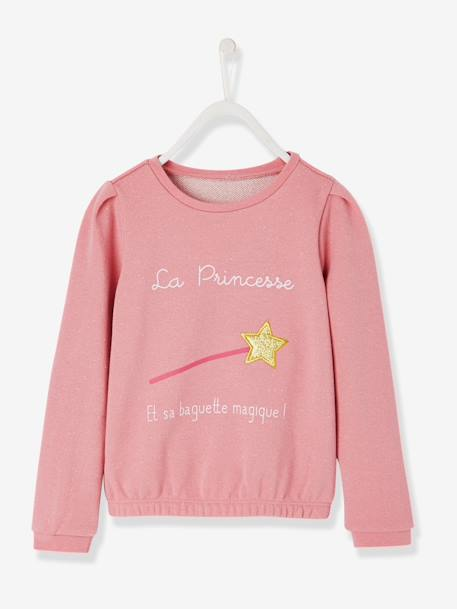 Grils' Magic Wand Sweatshirt PINK MEDIUM SOLID WITH DESIG - vertbaudet enfant