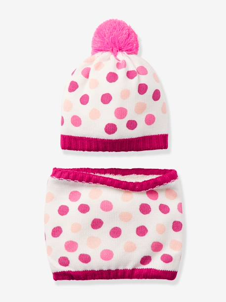 Girls' Ski Beanie & Snood Set PINK LIGHT ALL OVER PRINTED - vertbaudet enfant