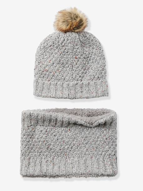 Ensemble bonnet + snood fille Gris clair chiné - vertbaudet enfant
