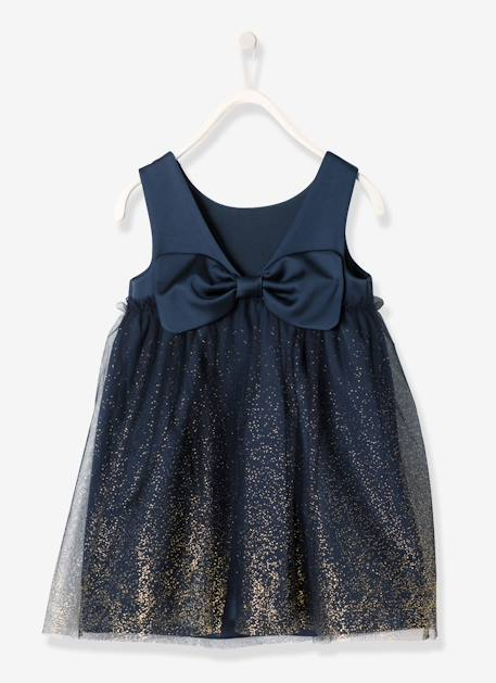 Girls' Satin & Tulle Dress BLUE DARK SOLID WITH DESIGN+RED DARK SOLID WITH DESIGN - vertbaudet enfant