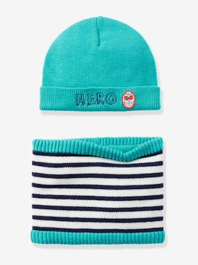 Baby-Baby Boys' Plain/Striped Knit Cap & Snood Set