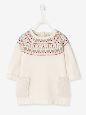 Vertbaudet Collection-Baby-Dresses & Skirts-Baby Knitted Dress with Jacquard Motif
