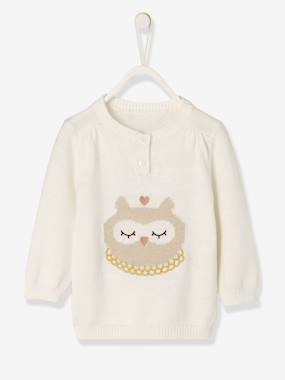 Baby-Cardigans & Sweaters-Baby Girls' Knitted Jumper, Animal Motif