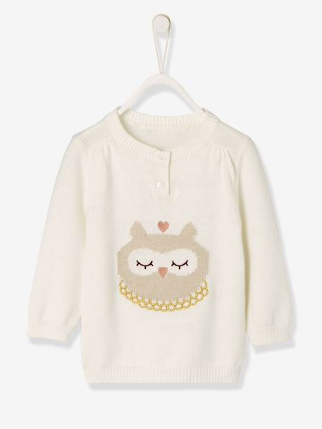 Baby Girls' Knitted Jumper, Animal Motif WHITE LIGHT SOLID WITH DESIGN - vertbaudet enfant