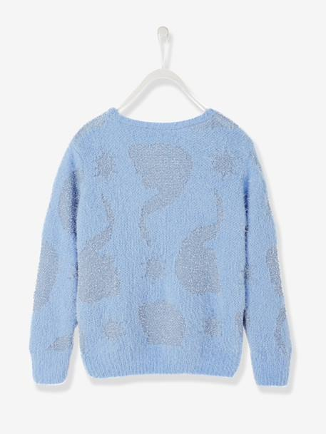 Girls' Fluffy Knit Jumper with Iridescent Details, Frozen® Theme BLUE LIGHT ALL OVER PRINTED - vertbaudet enfant