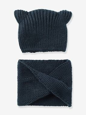 Outlet-Girls' Stylish Beanie & Snood