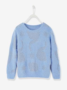 Clearance-Girls' Fluffy Knit Jumper with Iridescent Details, Frozen® Theme