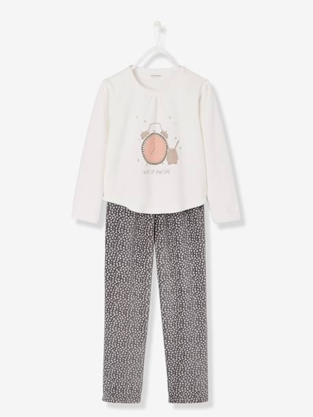 Girls' Velour Pyjamas WHITE LIGHT SOLID WITH DESIGN - vertbaudet enfant
