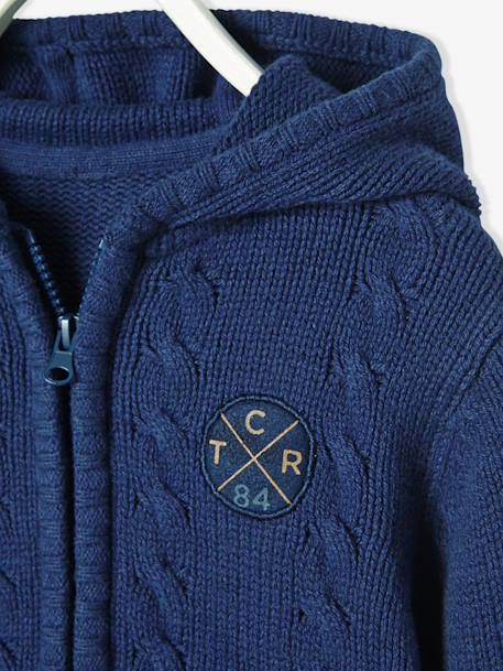 Boys' Lined Cardigan with Hood BLUE DARK MIXED COLOR - vertbaudet enfant