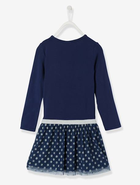Frozen® Dress with Iridescent Polka-Dotted Overskirt BLUE DARK SOLID WITH DESIGN - vertbaudet enfant