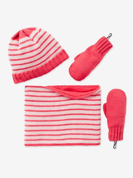 Girls' Beanie, Snood & Glove Set PINK LIGHT STRIPED - vertbaudet enfant