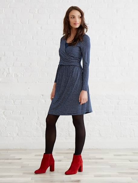 Adaptable Maternity & Nursing Wrapover Dress Black+BLUE MEDIUM ALL OVER PRINTED+Printed navy+RED LIGHT ALL OVER PRINTED - vertbaudet enfant