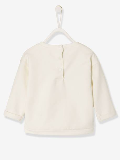 Babv Girls' Sweatshirt in Stylish Fleece WHITE LIGHT SOLID WITH DESIGN - vertbaudet enfant