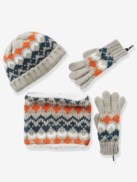 Boys' Snood, Beanie & Gloves BROWN MEDIUM ALL OVER PRINTED+WHITE LIGHT ALL OVER PRINTED - vertbaudet enfant