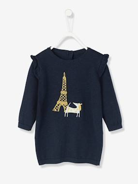 Vertbaudet Collection-Baby-Dresses & Skirts-Baby Knitted Dress with Dog Embroidery