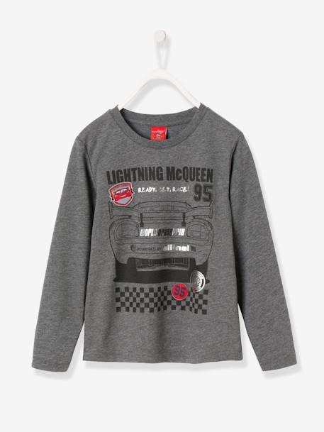 Boy's Long-Sleeved T-Shirt with Patches, Cars® Theme GREY DARK MIXED COLOR - vertbaudet enfant