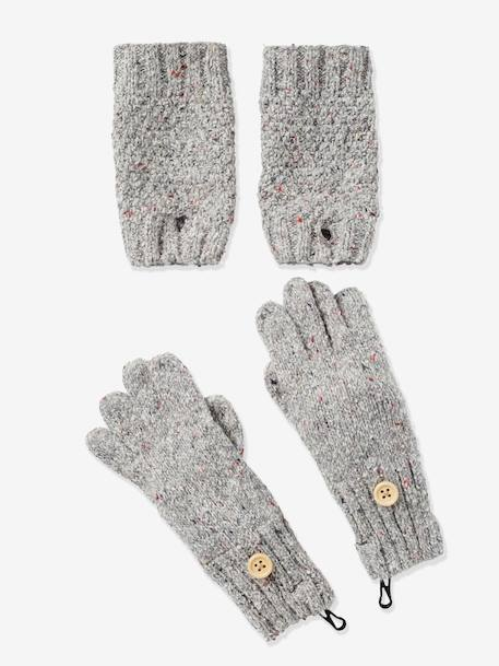 Girls' Gloves/Fingerless Gloves Set GREY LIGHT MIXED COLOR - vertbaudet enfant