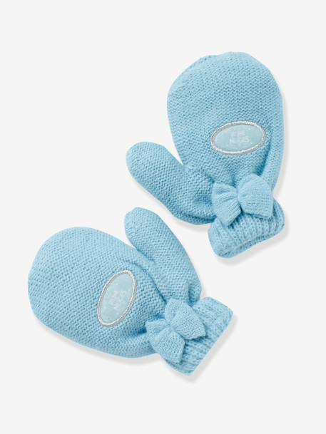 Girls' Frozen® Mittens BLUE LIGHT SOLID WITH DESIGN - vertbaudet enfant