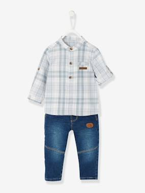 Little Trappeur-Baby Boys' Mandarin Collar Checked Shirt & Jeans Outfit Set