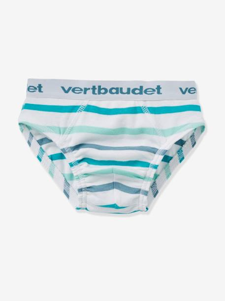Boys' Pack of 4 Briefs GREEN MEDIUM 2 COLOR/MULTICOLR - vertbaudet enfant
