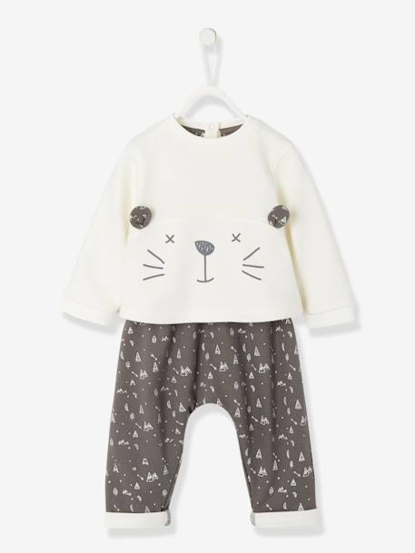 Baby Fleece Sweatshirt & Harem-Style Trousers Outfit Set BEIGE MEDIUM SOLID WITH DECOR+Ivory/dark grey+PINK LIGHT SOLID WITH DESIGN - vertbaudet enfant